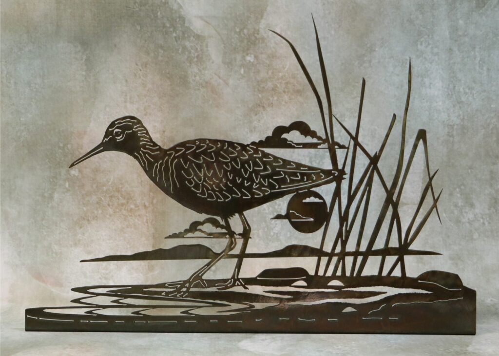 Freestanding Metal Art, Sandpiper, Bird, Sun, Clouds, Water, Pond, Lake, Reeds, Shore