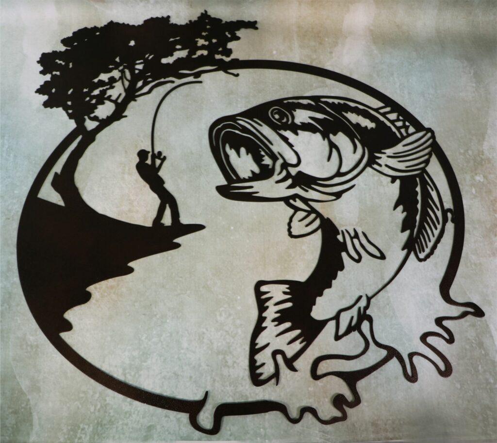 Wall Metal Art, Bass, Fish, Water, Pond, Lake, Man, Guy, Fishing Rod, Tree, River Bank