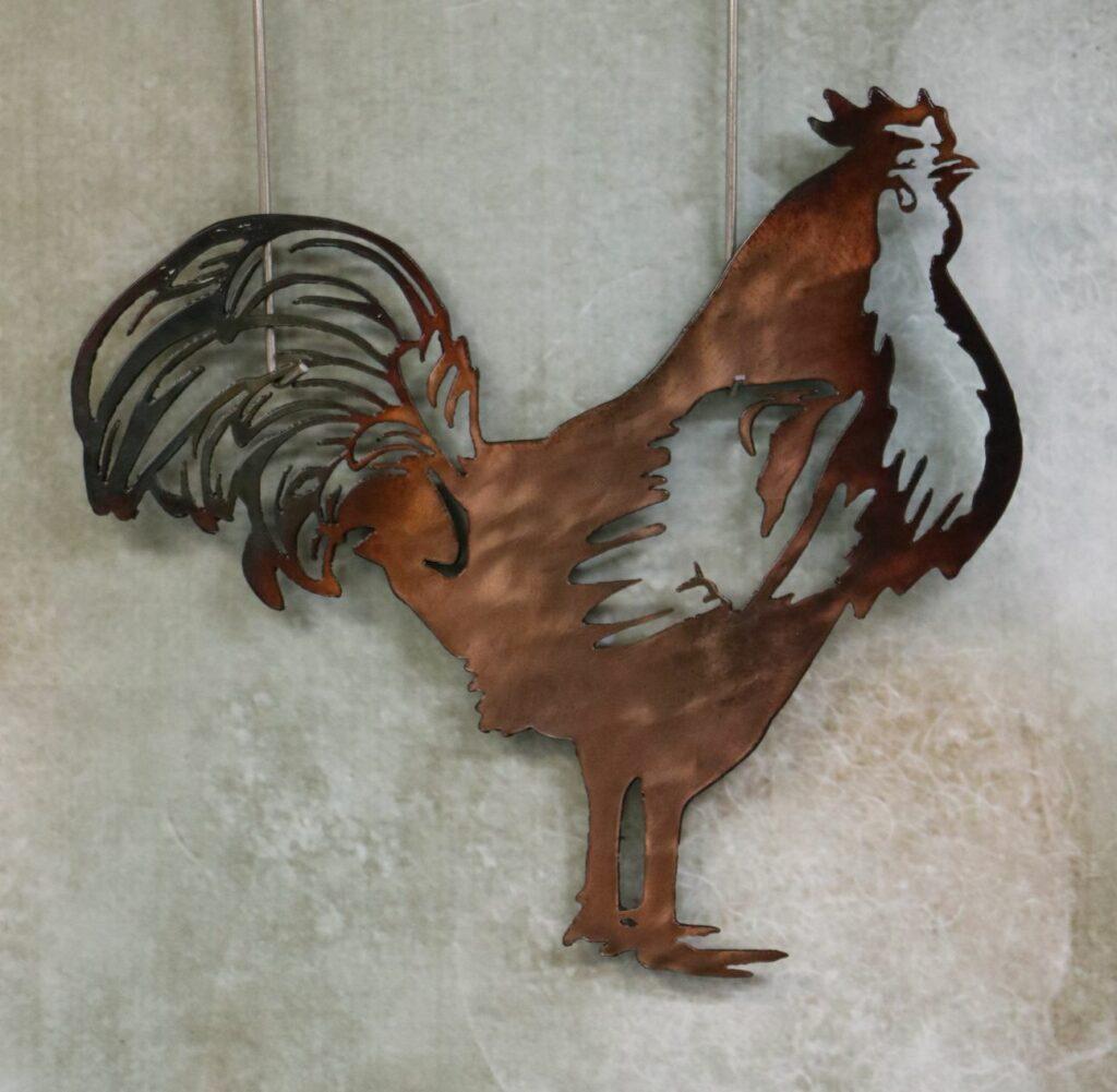 Wall Metal Art, Chicken, Tail Feathers, Comb, Legs, Beak, Copper, Hen