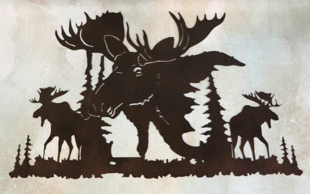 Wall Metal Art, Moose, Bulls, Antlers, Trees, Swamp, Water, Pond, Lake