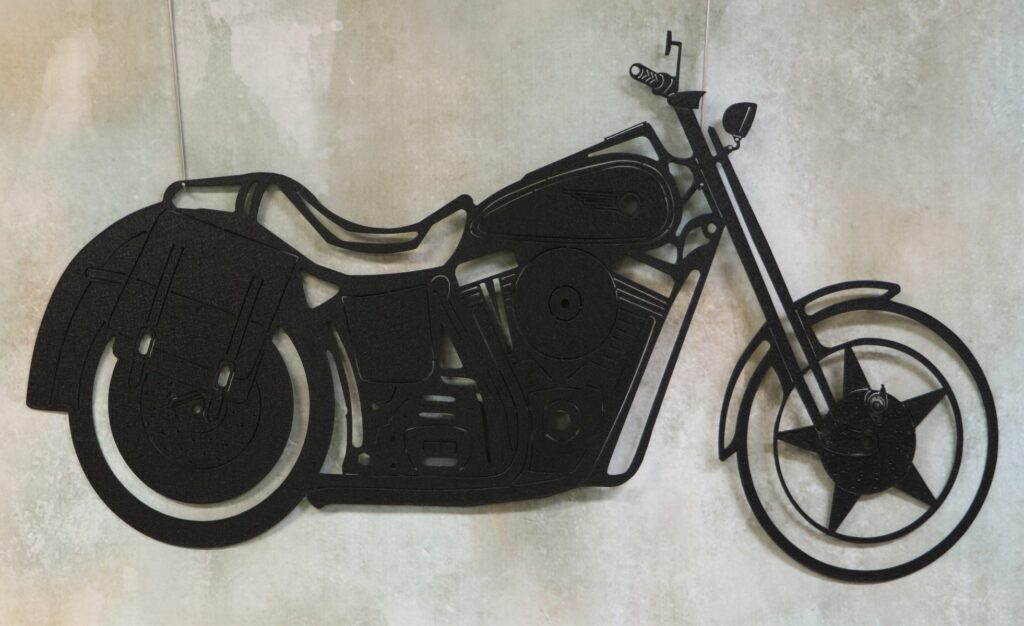 Wall Metal Art, Motorcycle, Mirror, Seat, Motor, Softail, Tires, Saddlebags, Harley, Fenders