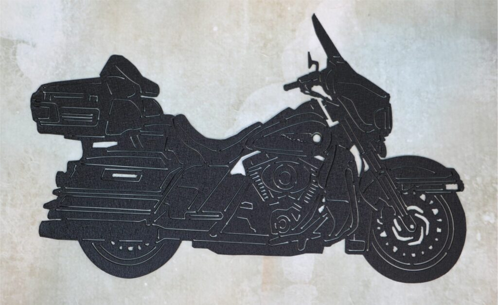 Wall Metal Art, Motorcycle, Harley, Saddle Bags, Backrest, Tires, Wind Guard, Motor, Seat, Mirror, Fenders