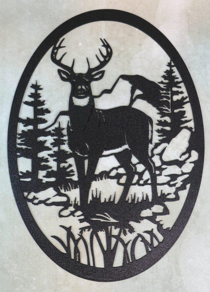 Wall Metal Art, Buck, Deer, Forest, Rocks, Trees, Boulders, Grass, Antlers