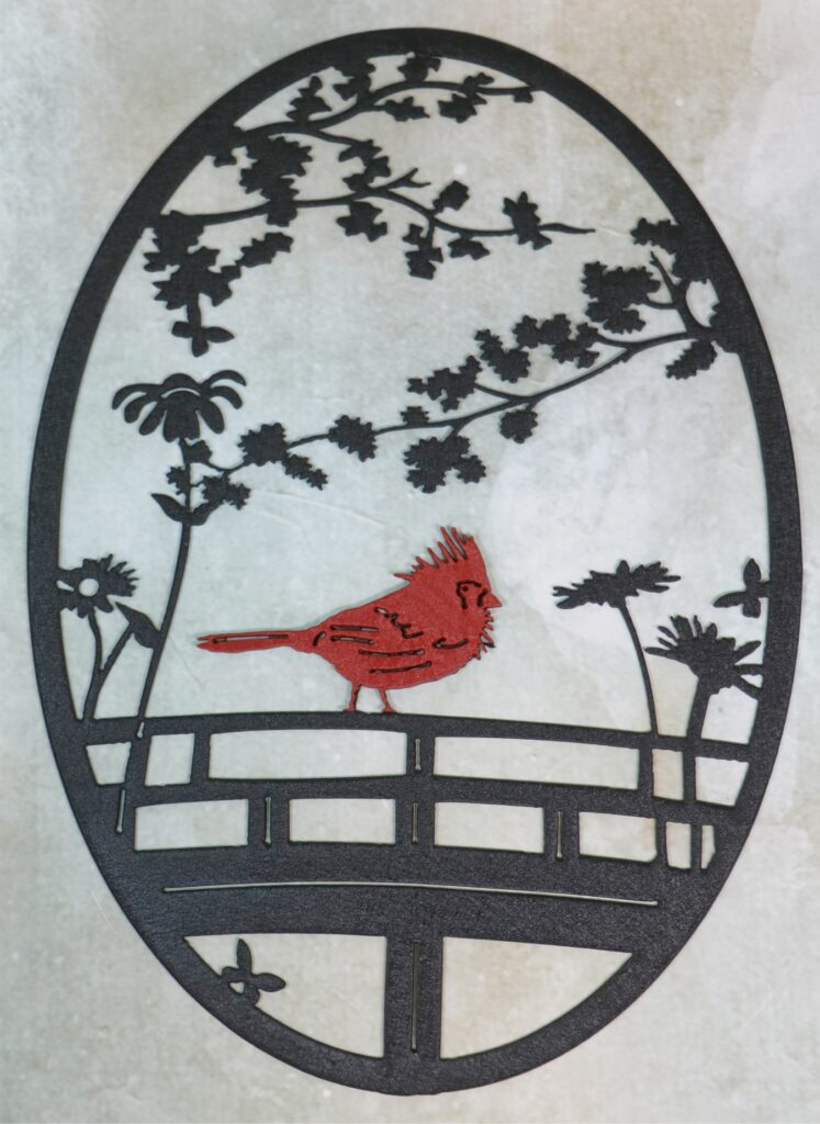 Wall Metal Art Oval, Red Cardinal, Fence, Flowers, Butterfly, Tree Branches