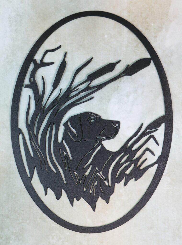 Wall Metal Art, Dog, Labrador, Cattails, Swamp, Reeds, Water