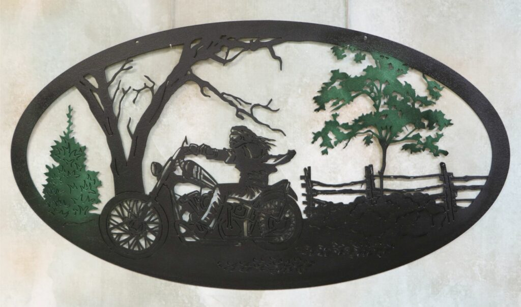 Wall Metal Art Oval, Motorcycle, Guy, Trees, Fence, Bushes, Mirror, Tires