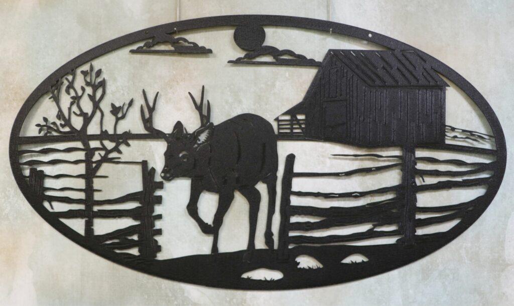 Wall Metal Art Oval, Buck, Antlers, Deer, Barn, Fence, Tree, Farm, Fields, Sun, Clouds