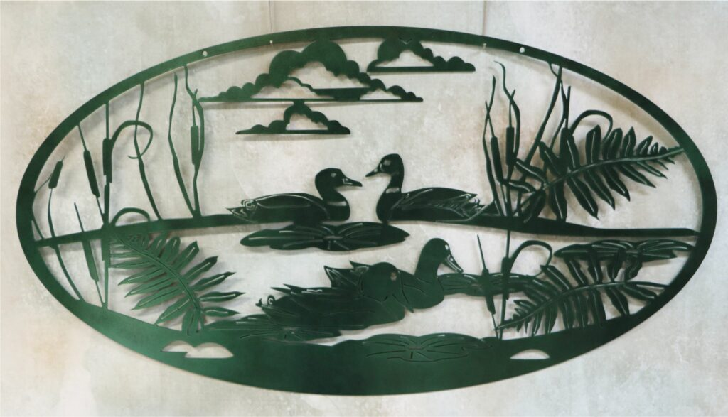 Wall Metal Art Oval, Ducks, Pond, Swamp, Cattails, Clouds, Plants, Lilies