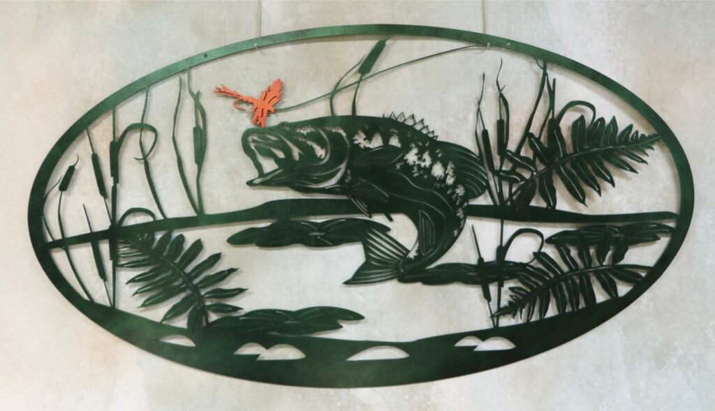 Metal Wall Art Oval, Catching Fish, Lure, Fishing Line, Pond, Swamp, Cattails, Plants, Lilies