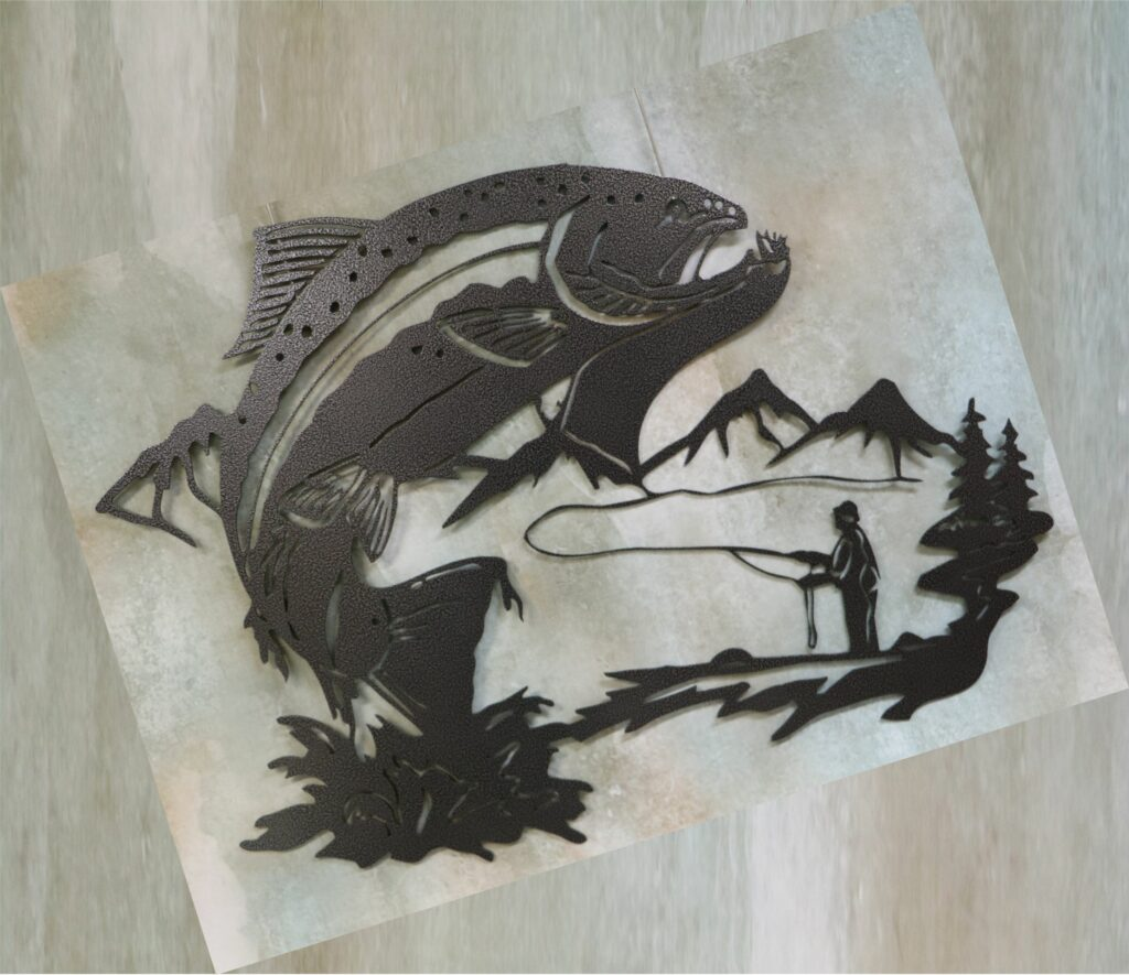 Wall Metal Art Oval, Fish, Muskie, Fly Fishing, Man, Woods, Forest, Stream, River, Water, Mountains, Fishing Line, Shore