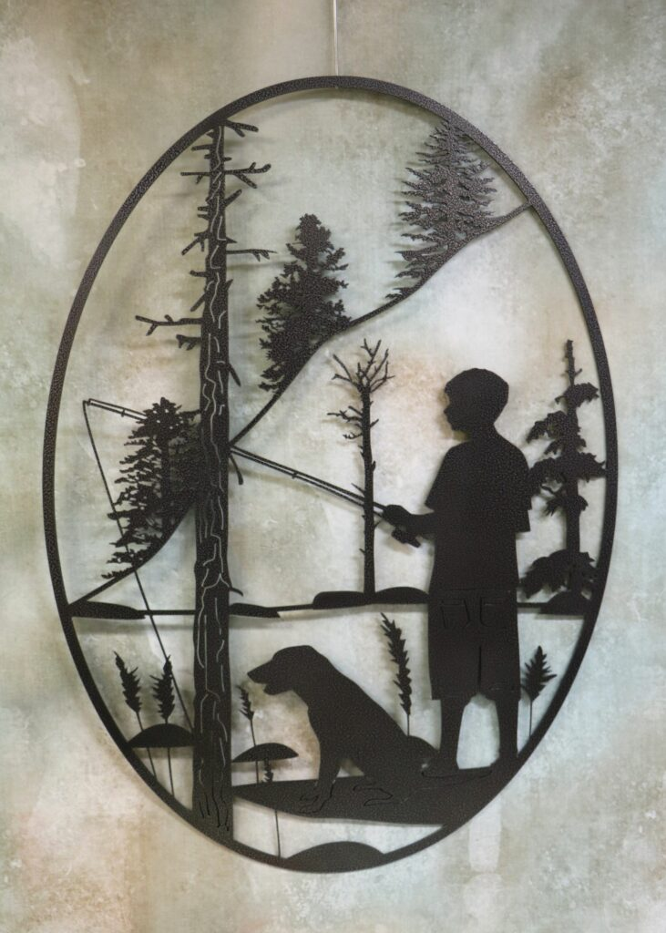 Wall Metal Art Oval, Boy, Fishing Pole, Fishing Line, Dog, Stream, Shore, Trees, Forest, Rocks