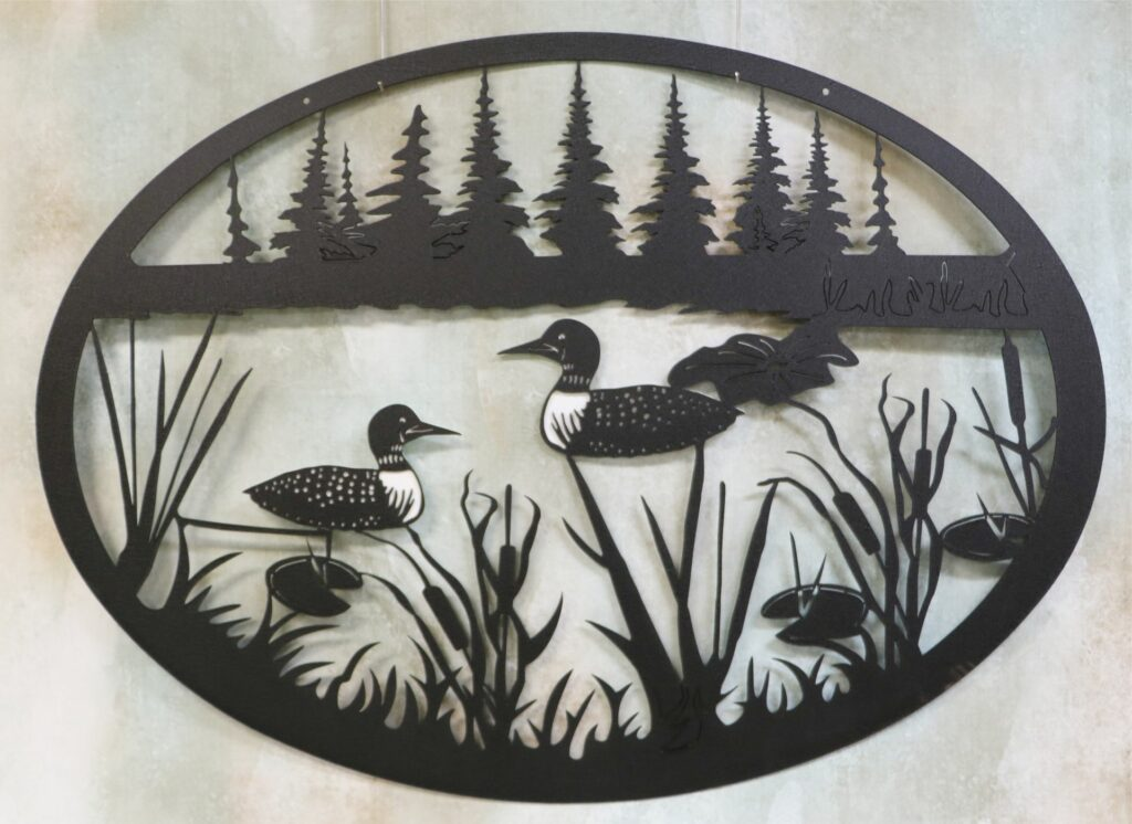 Wall Metal Art Oval, Loons, Trees, Treeline, Cattails, Pond, Lake, Shore, Lily Pads, Grass