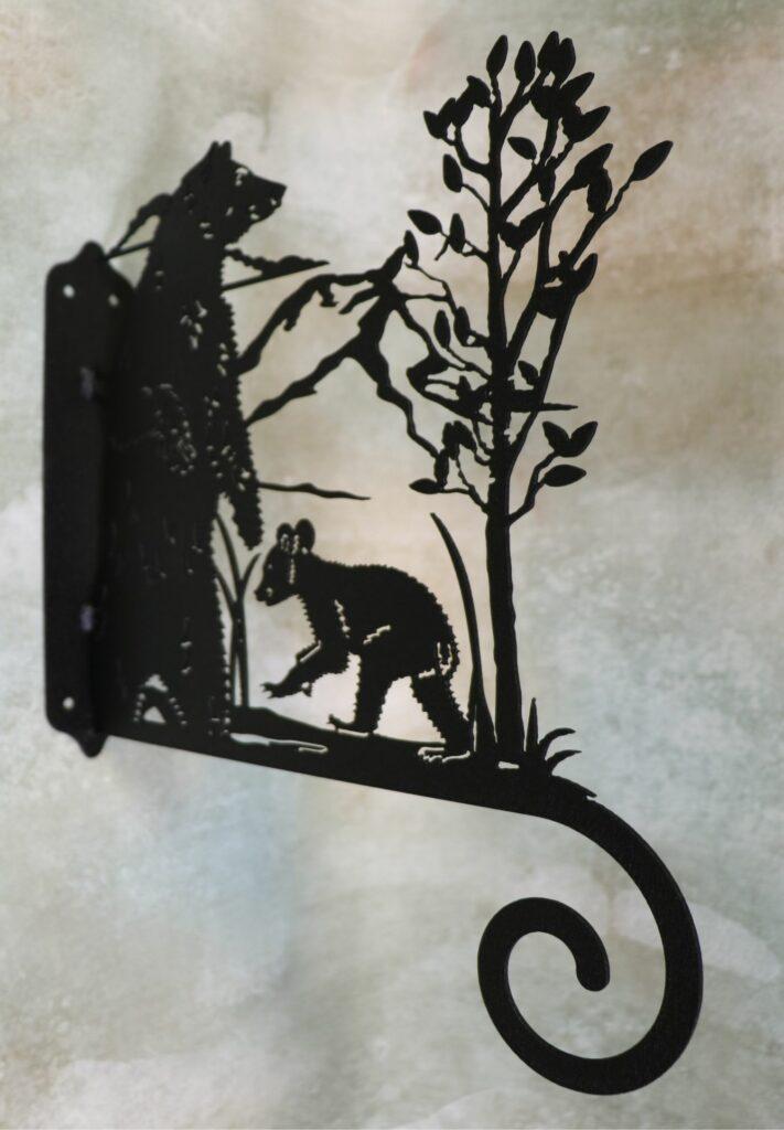 Wall Metal Art, Plant Hanger, Hook, Tree, Mama Bear, Baby Bear, Sow, Cub, Mountains