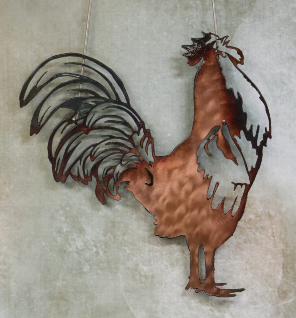 Wall Metal Art, Chicken, Bird, Tail Feathers, Comb, Legs, Beak, Copper, Rooster, Crow, Cock-a-doodle-do