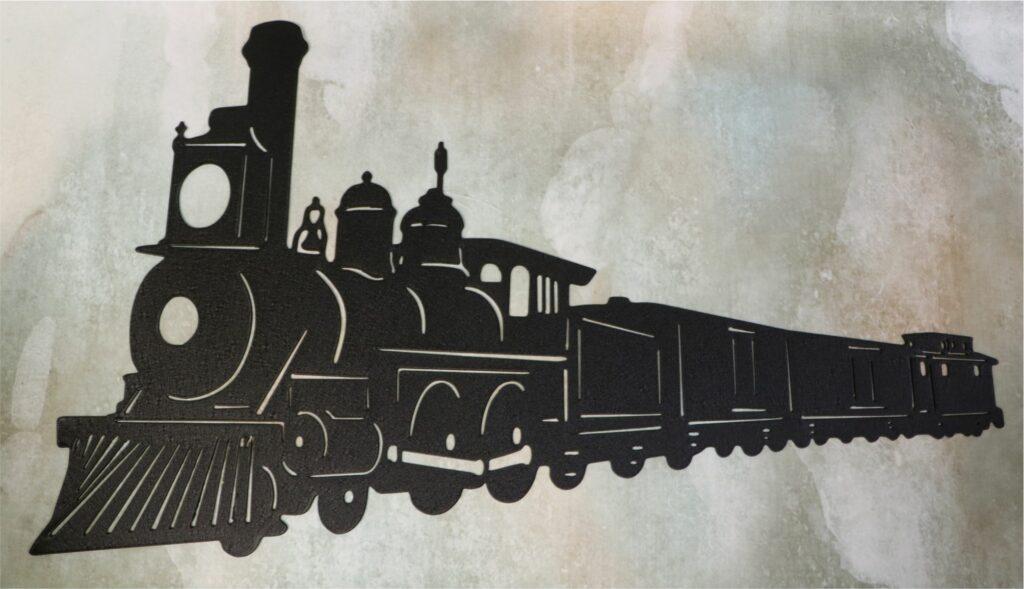 Wall Metal Art, Train, Locomotive, Steam, Cars, Tracks, Conductor
