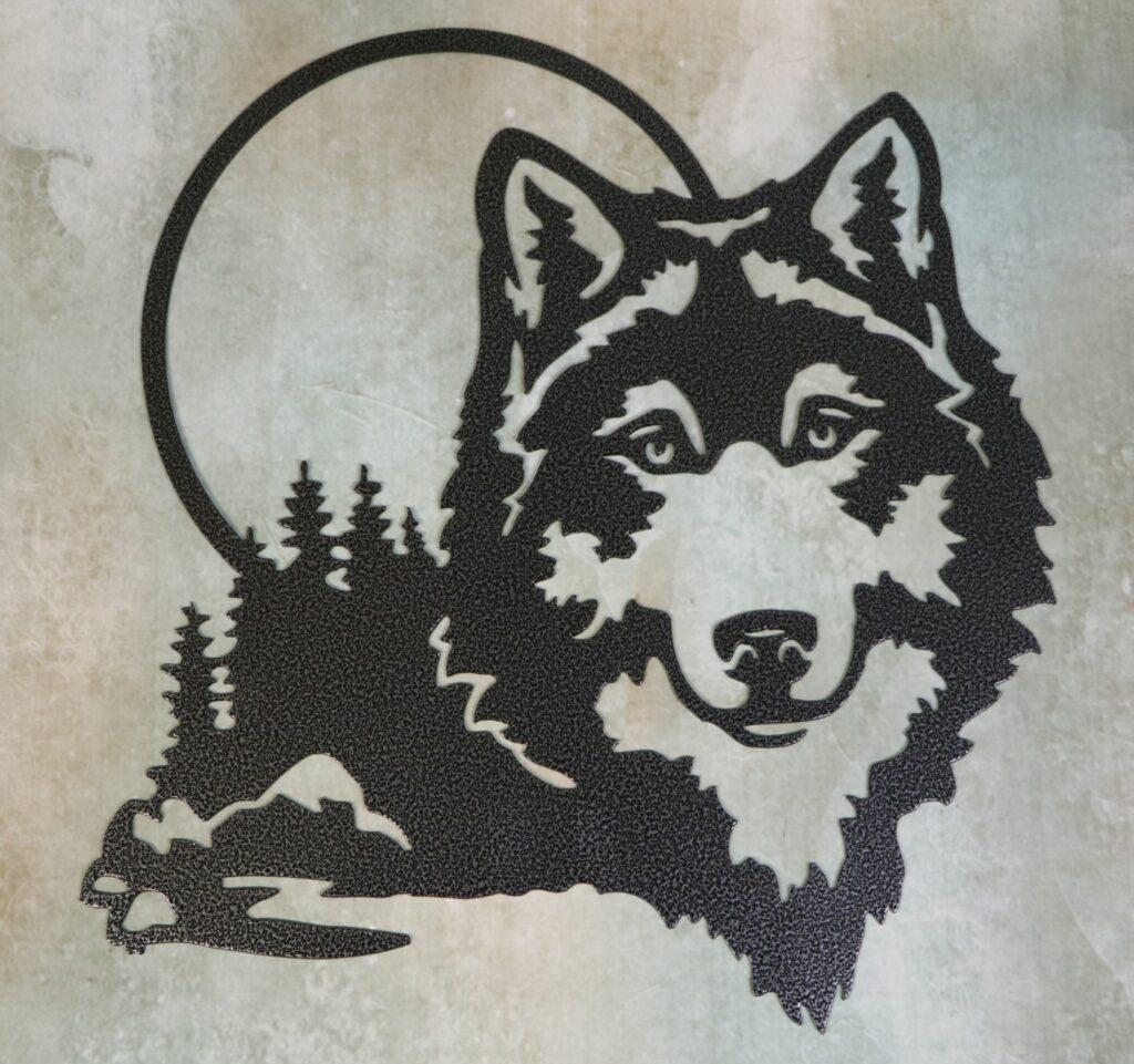 Wall Metal Art, Wolf, Moon, Trees, Rocks, Water, Lake, Pond