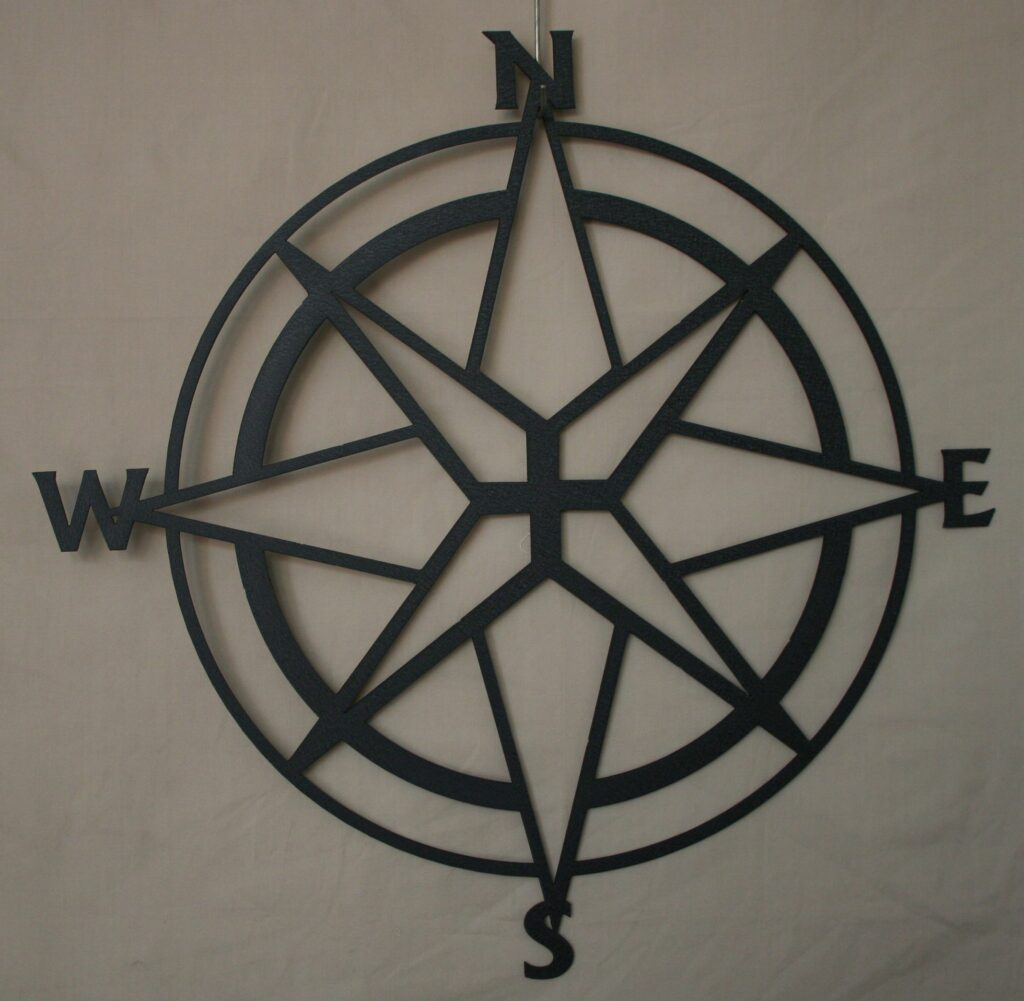 Wall Metal Art, North, South, East, West, Compass, Direction