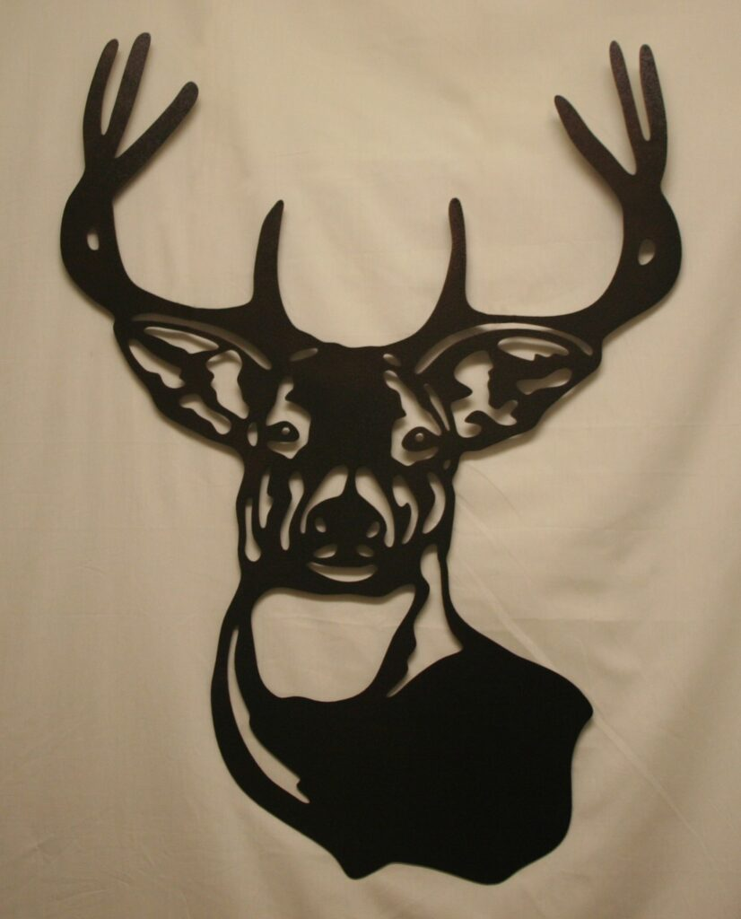 Wall Metal Art, Whitetail Buck, Deer, Antlers, 8-Pointer