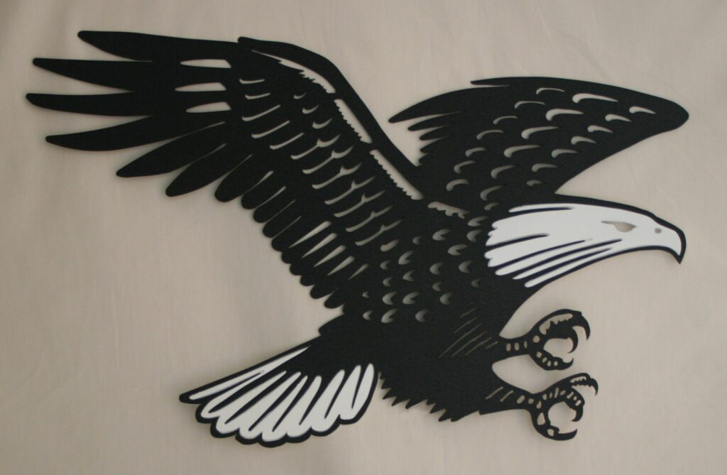 Wall Metal Art, Bald Eagle, Black and White, Talons, Flying