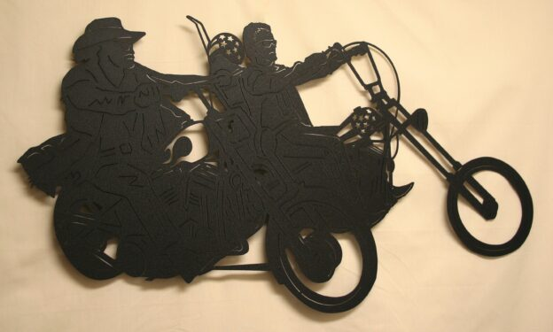 Metal Art, Motorcycles, Helmets, Two Riders, Stars, Sunglasses, Cowboy Hat