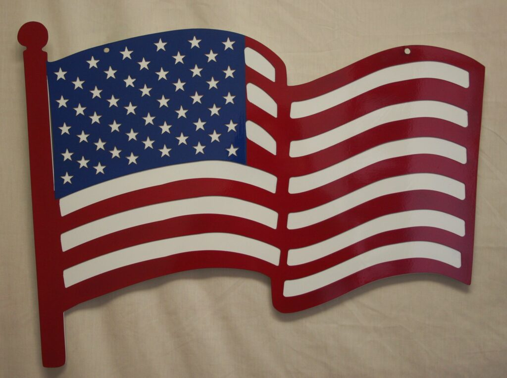 Wall Metal Art, USA, Flag, Red, White, Blue Waves, Stars