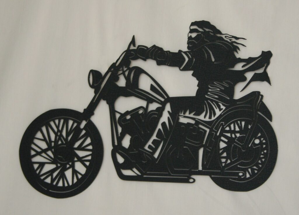 Metal Art, Man Riding Motorcycle, Wind