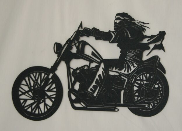 Metal Art, Man Riding Motorcycle, Wind