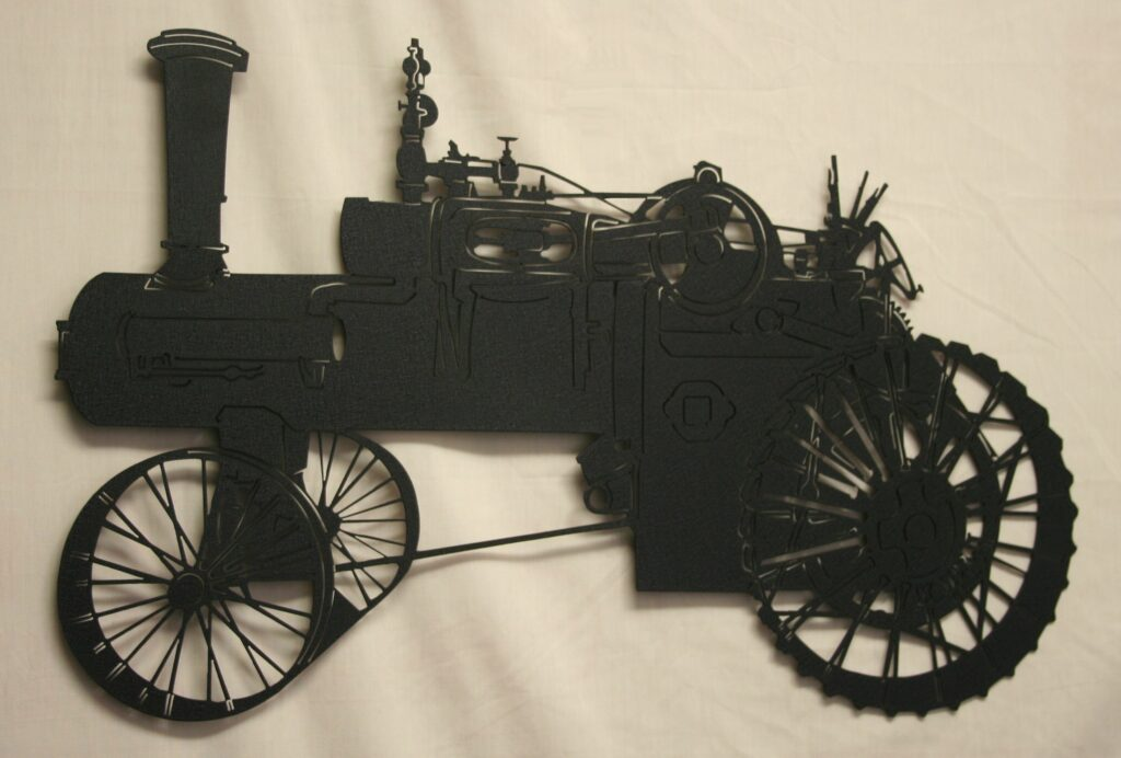 Wall Metal Art, Old Fashioned Steam Tractor, Wire Wheels