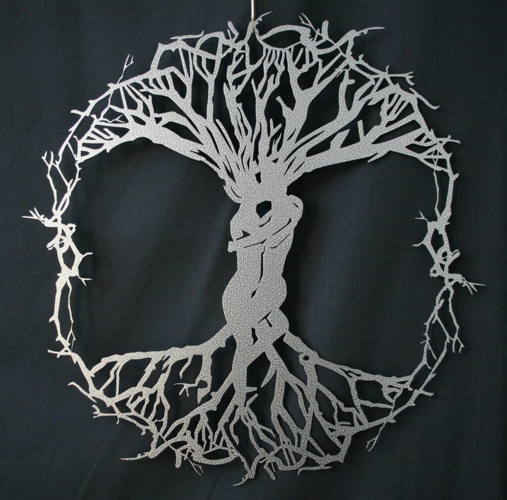 Wall Metal Art, Tree, People, Kiss, Kissing, Branches, Entwined, Vines