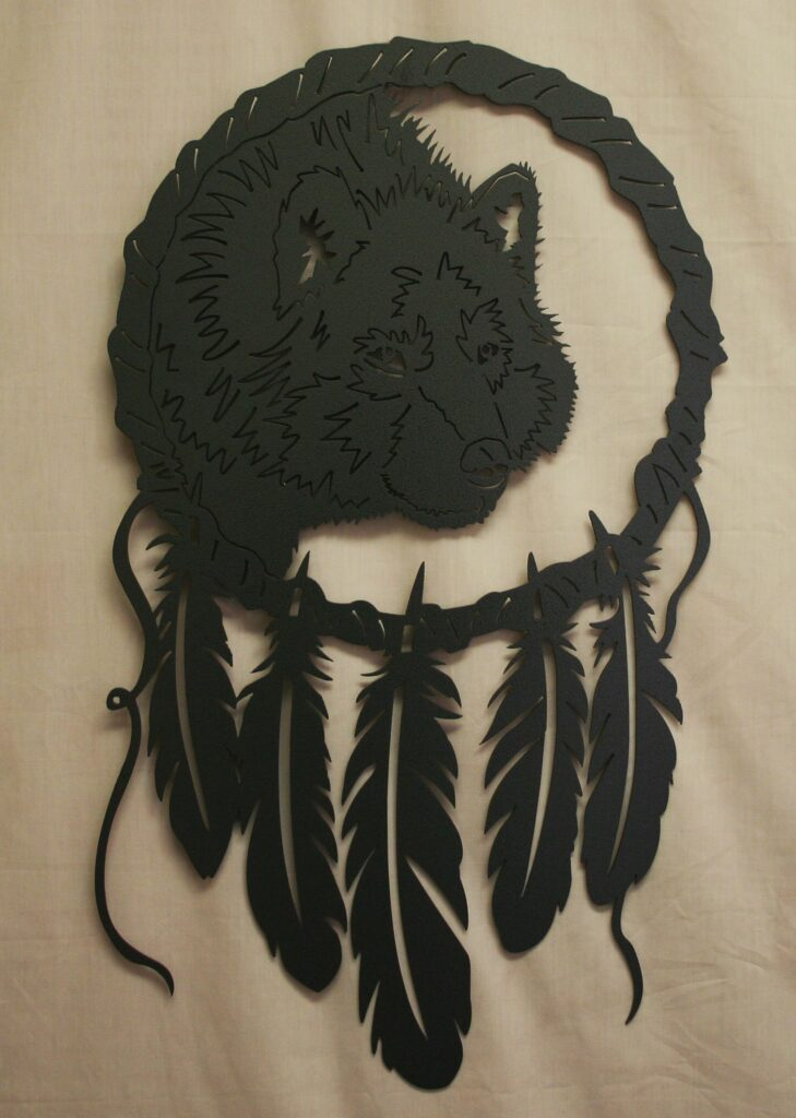 Metal Art, Dream Catcher, Native American, Feathers, Grey Wolf