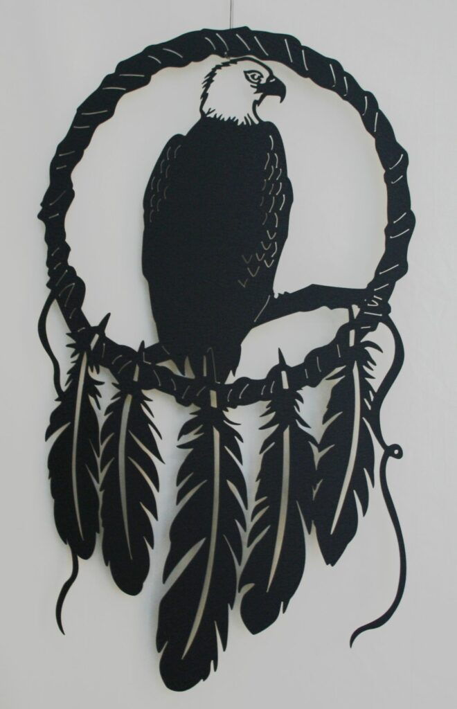 Metal Art, Dream Catcher, Native American, Bald Eagle, Feathers, Branch