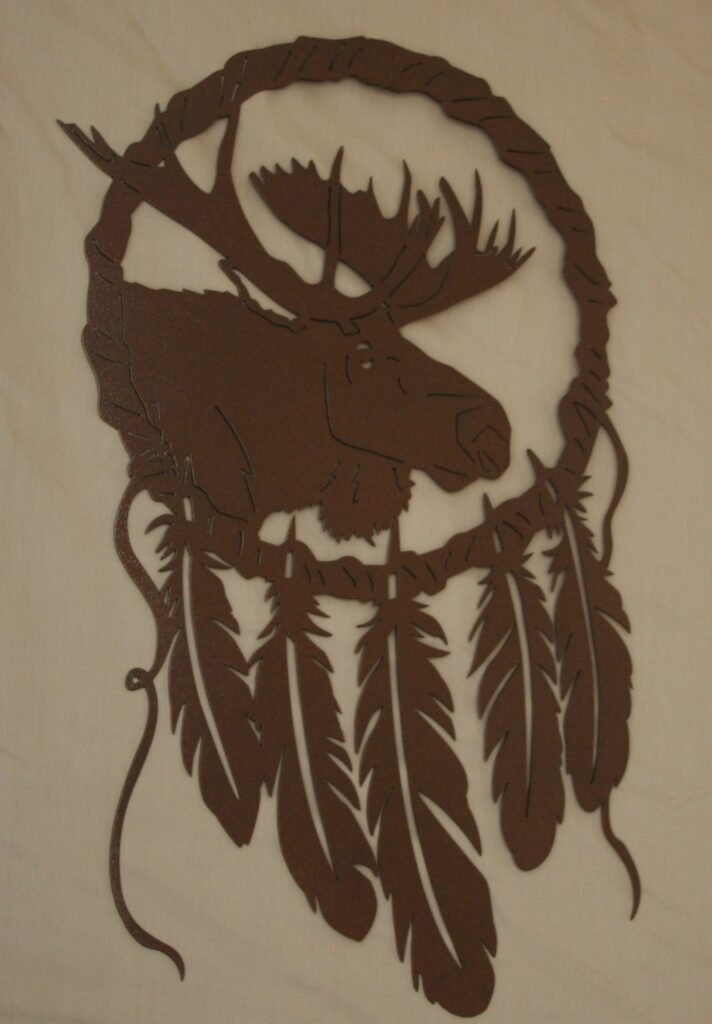 Metal Art, Dream Catcher, Moose, Feathers, Antlers