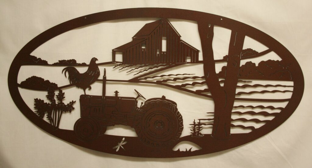 Metal Art, Ford Tractor, Tractor, Field, Crop, Rooster, Dragonfly, Barn, Farm, Tree, Woods