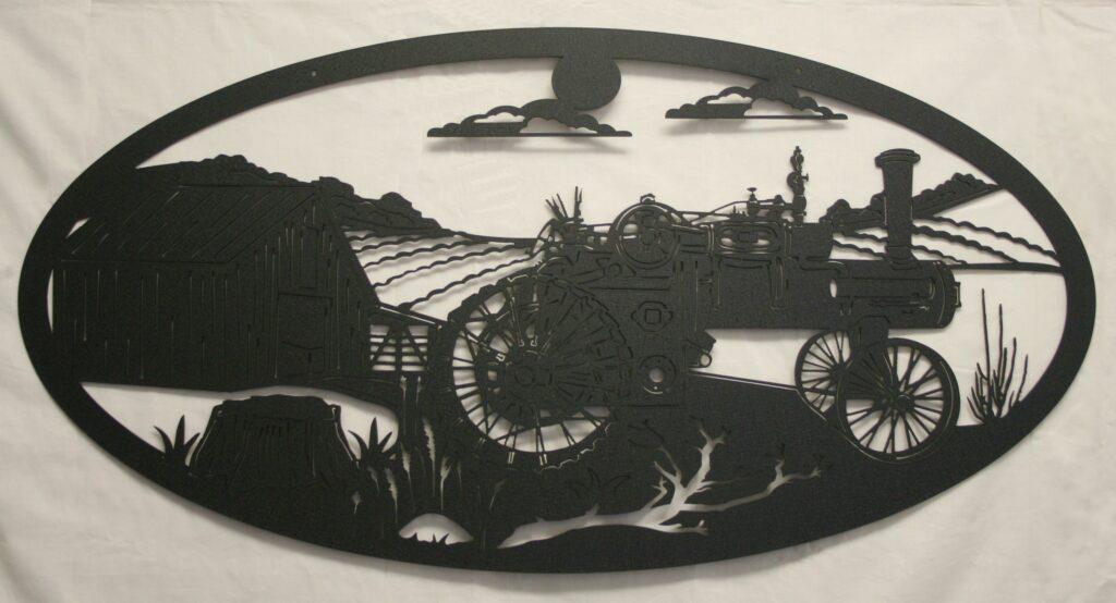 Metal Art, Steam Tractor, Tractor, Barn, Field, Crop, Sun, Clouds