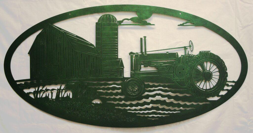 Metal Art, John Deere, Tractor, Field, Barn, Silo, Sun, Clouds, Crop