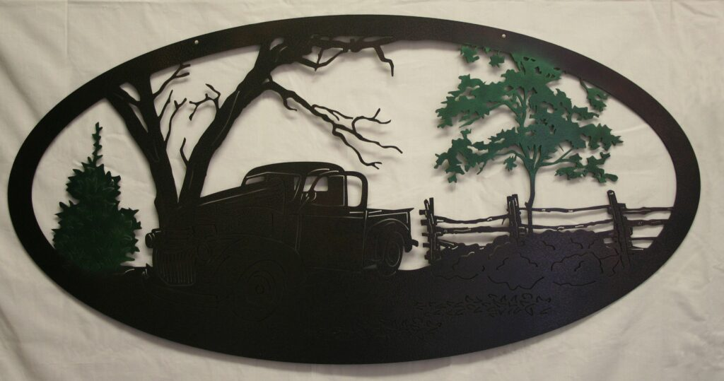 Wall Metal Art Chevy, Truck, Trees, Fence, Countryside, Drive