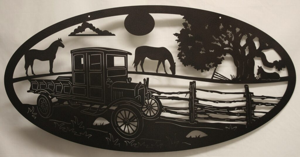 Wall Metal Art Oval Model T, Horses, Fence, Trees