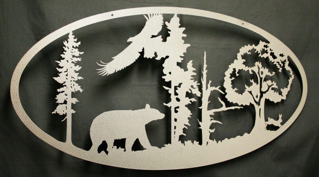 Wall Metal Art Oval Bear Eagle Rabbit