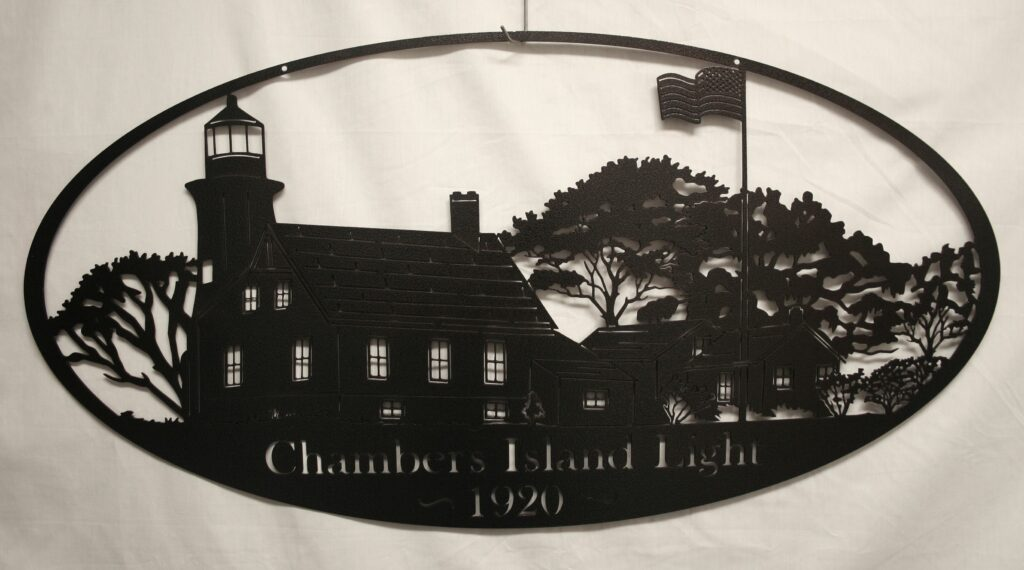 Wall Metal Art Oval Chambers Island Lighthouse