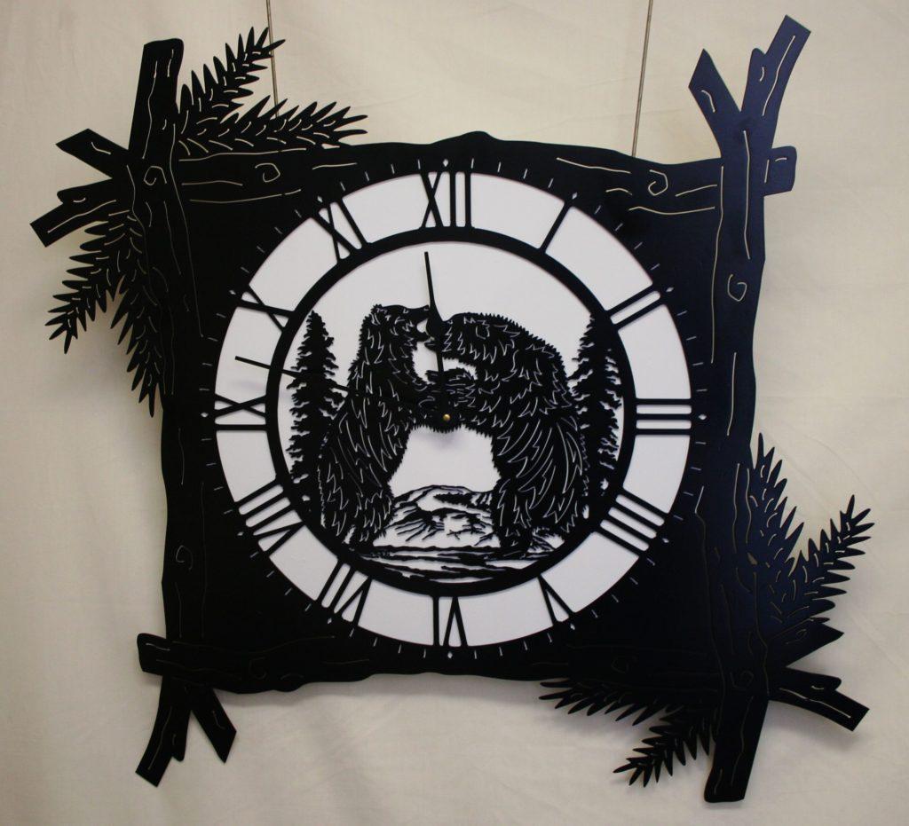 Wildlife, Pine Branch, Bear, Clock, Two Bears Fighting, Trees, Mountains