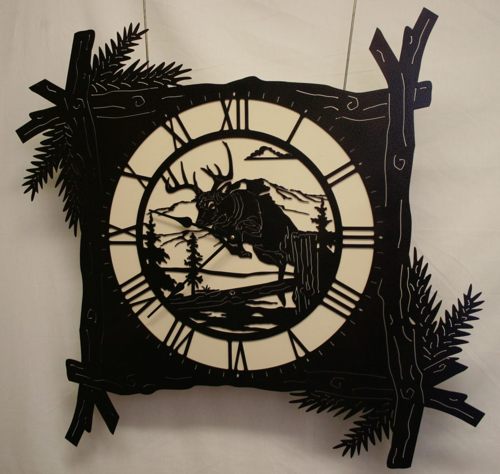 Wildlife, Pine Branch, Deer, Clock, Buck, Tree, Stump, Mountains, Clouds