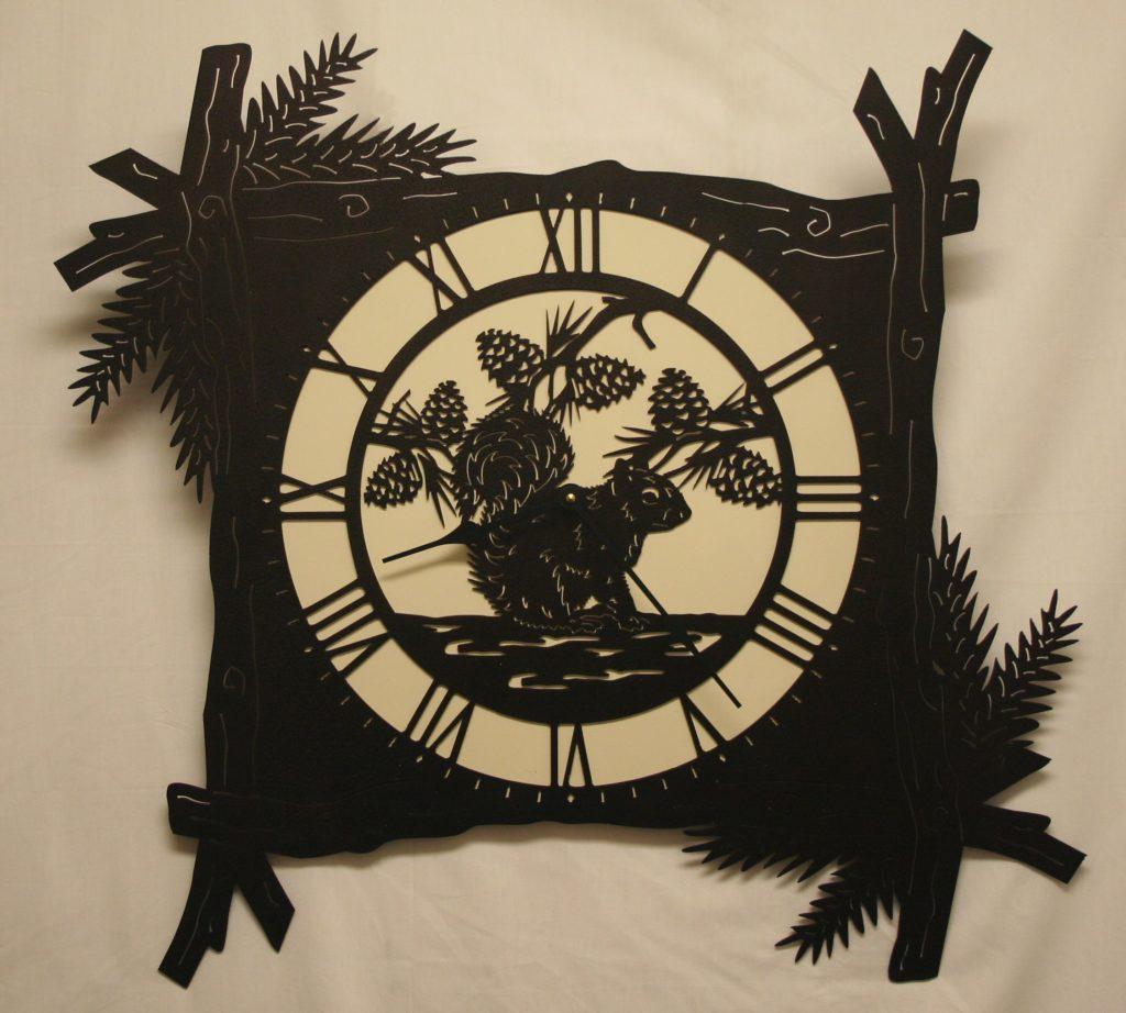 Wildlife, Pine Branch, Squirrel, Clock, Pine cones, Fluffy Tail
