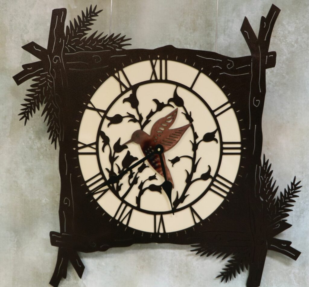 Wall Metal Art, Pine Branch Clock, Humming Bird, Flowers, Stems