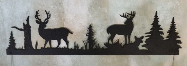 metal, art, door topper, bucks, whitetail, doe, trees, woods, antlers, stump, bushes, grass