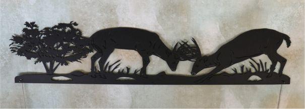 metal, art, door topper, deer, bucks sparing, fighting, tree, grass, antlers, whitetail, woods
