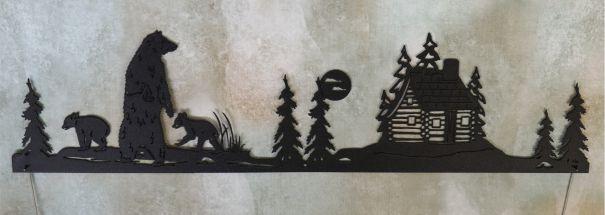 metal art, door topper, bear, standing, two cubs, trees, weeds, bushes, moon, cabin, windows, hill, chimney, log cabin