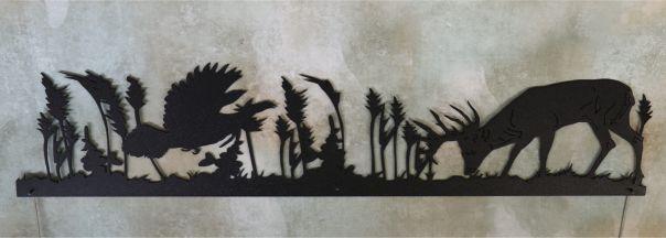 metal, art, door topper, buck, whitetail, grass, antlers, turkey, flying, wind, feathers, beak, trees, bushes