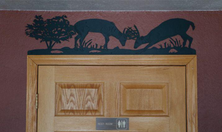 metal, art, display, door topper, deer, bucks sparing, fighting, tree, grass, antlers, whitetail, woods, door