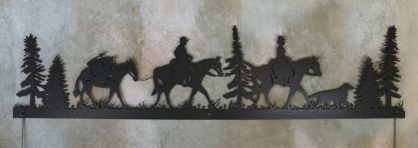 metal, art, door topper, horses, pack mule, dog, trees, woods, man, woman, saddle, reins, cowboy, cowgirl, cowboy hat, grass, walking