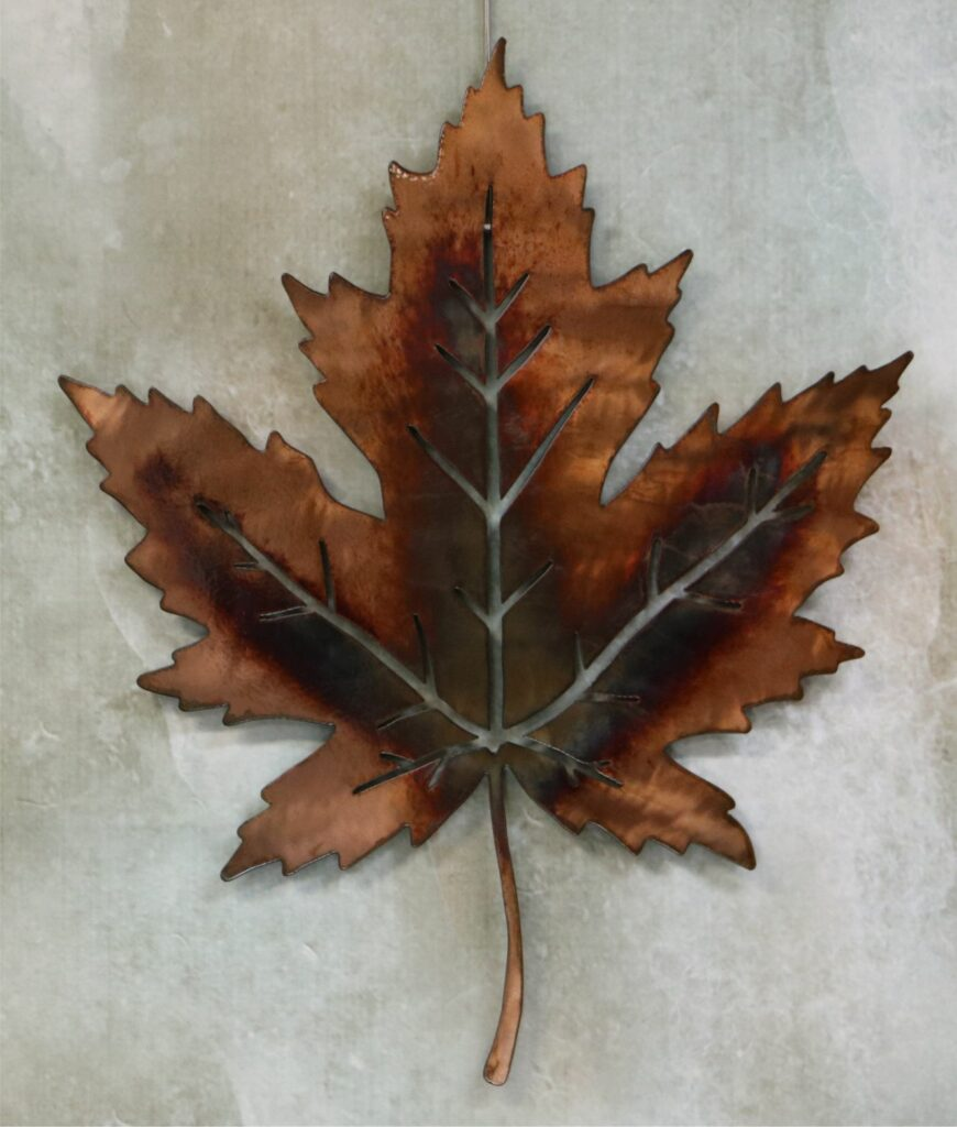 Wall Metal Art, Maple Tree Leaf, Copper, Leaf Veins, Stem